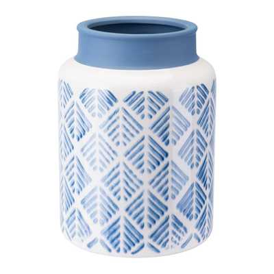 ZUO Steel Blue and White Zig Zag Large Decorative Vase, Steel Blue & White - Home Depot