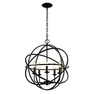 Bel Air Lighting 5-Light Rubbed Oil Multi Ring Orb Bronze Chandelier - Home Depot