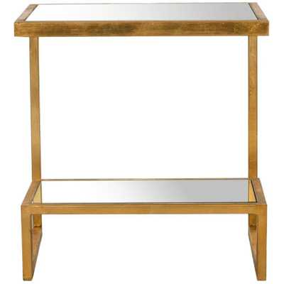 Kennedy Gold Mirror Top End Table - Home Depot