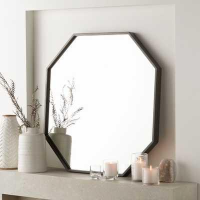 Octagon Grey Oak Wall Mirror - Crate and Barrel