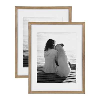 DesignOvation Gallery 14x18 matted to 11x14 Rustic Brown Picture Frame Set of 2 - Home Depot