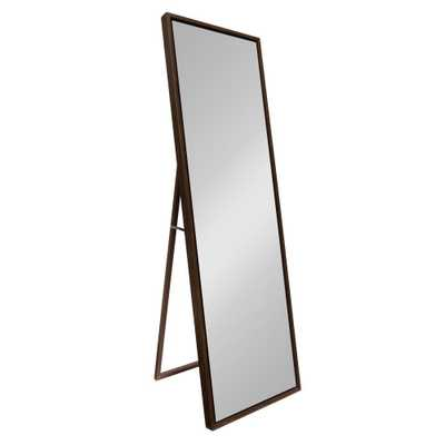 Evans Rectangle Walnut Brown Leaning Mirror - Home Depot
