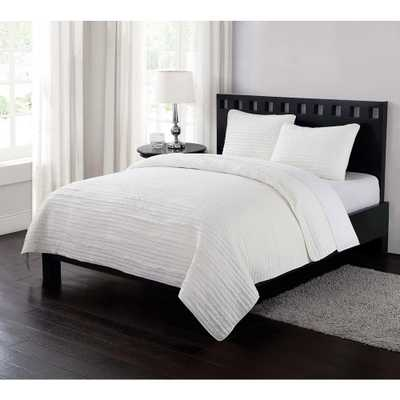 Garment Washed Crinkle King Quilt Set in Cream (Ivory) - Home Depot