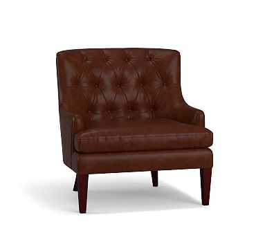 Haylen Leather Armchair, Polyester Wrapped Cushions, Burnished Saddle - Pottery Barn