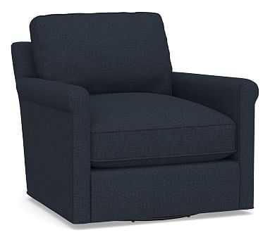 Tyler Roll Arm Upholstered Swivel Armchair without Nailheads, Polyester Wrapped Cushions, Performance Brushed Basketweave Indigo - Pottery Barn