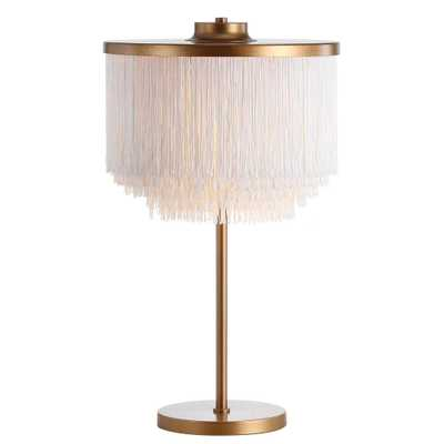 JONATHAN Y Coco 27.5 in. Gold/White Fringed/Metal LED Table Lamp - Home Depot