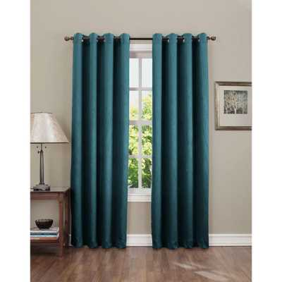 Sun Zero Semi-Opaque Gregory 84 in. L Crushed Room Darkening Curtain Panel in Teal (Blue) (Price Varies by Size) - Home Depot