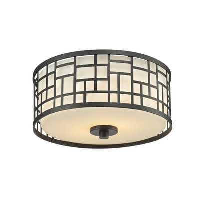 Filament Design Velia 2-Light Dark Bronze Steel Modern Sleek Flush Mount with Round Matte Opal Glass Shades - Home Depot