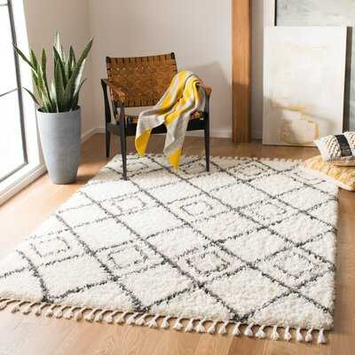 Moroccan Tassel Shag Area Rug In Ivory / Dark Grey - Wayfair