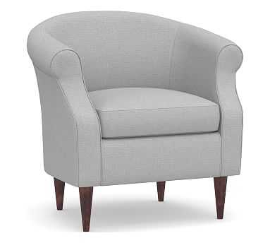 SoMa Lyndon Upholstered Armchair, Polyester Wrapped Cushions, Brushed Crossweave Light Gray - Pottery Barn