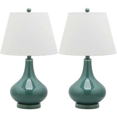 Safavieh Amy 24 in. Marine Blue Gourd Glass Lamp (Set of 2) - Home Depot