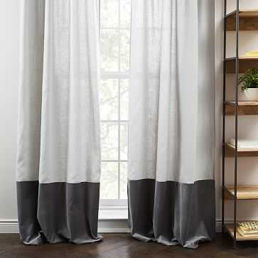 """Linen Velvet Colorblock Curtain, Platinum/Iron, 48""""X96"""" - West Elm"""