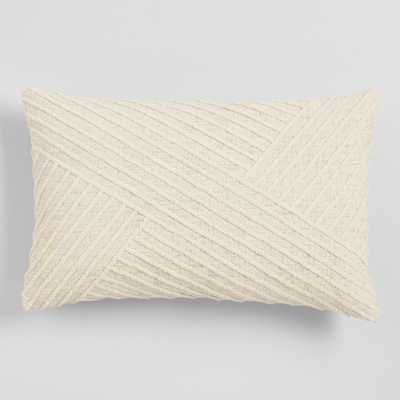 Oversized Ivory Angled Stripe Lumbar Pillow by World Market - World Market/Cost Plus