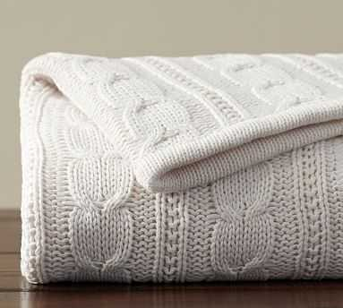 "Cozy Cable Knit Throw, 50 x 60"", Ivory - Pottery Barn"