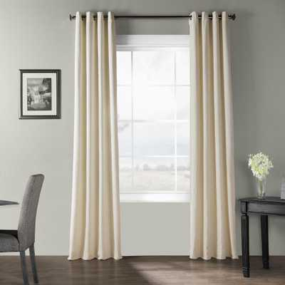Exclusive Fabrics & Furnishings Pale Ivory Bark Weave Solid Cotton Grommet Curtain - 50 in. W x 84 in. L - Home Depot