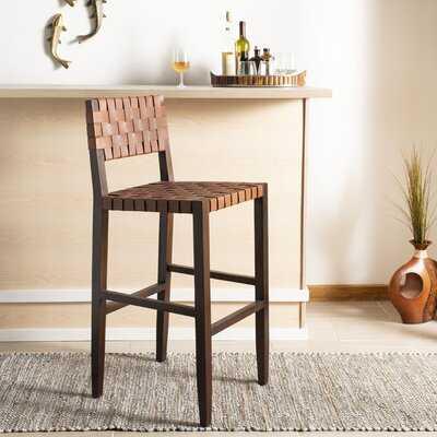 Woven Leather Bar Stool - Wayfair