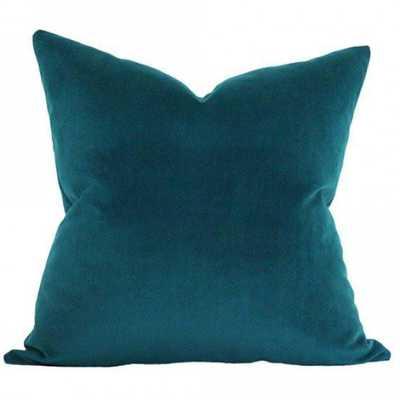 Peacock Velvet - 20x20 pillow cover (square medium) - Arianna Belle