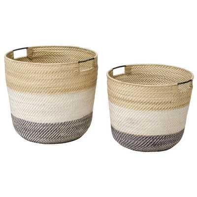Palecek Bixby Coastal Beach Rattan Nautical Baskets - Set of 2 - Kathy Kuo Home