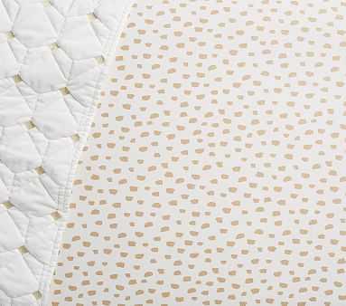 Gold Brushstroke Dot Crib Fitted Sheet - Pottery Barn Kids