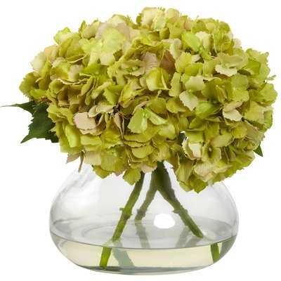 Blooming Hydrangea Floral Arrangement in Vase - Birch Lane