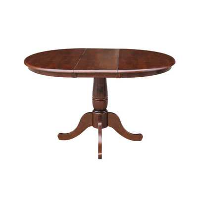 Espresso (Brown) 36 in. x 36 in. x 48 in. Extension Laurel Pedestal Table - Home Depot