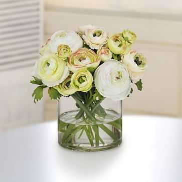 Faux Mixed Green Ranunculus in Cylinder Vase - West Elm