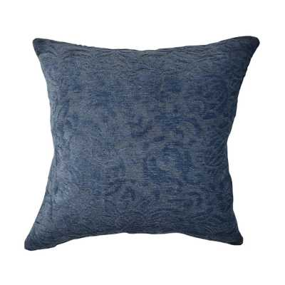Blue Damask Flocked Throw Pillow - Home Depot