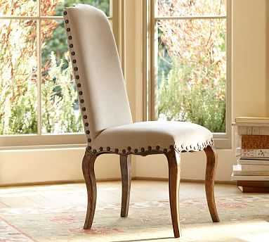 Calais Leather Dining Side Chair with Seadrift Frame, Statesville Pebble - Pottery Barn