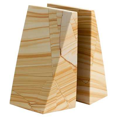 Natural Marble Non-Skid Bookends (set of 2) - Birch Lane