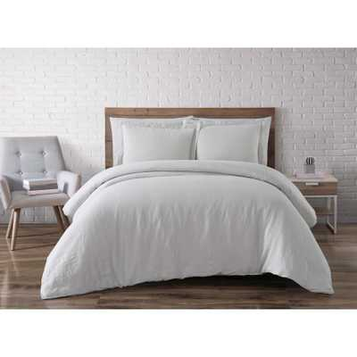 Linen Platinum Queen Duvet Set - Home Depot