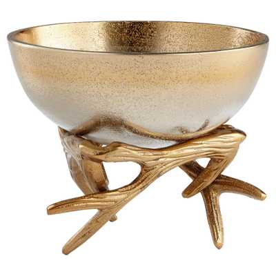 Dasher Metallic Ombre Gold Antler Bowl - Small - Kathy Kuo Home