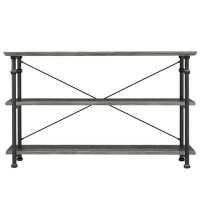 Grove Place Weathered Grey Entertainment Center - Home Depot