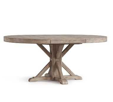 "Benchwright Extending Pedestal Dining Table, Gray Wash, 48"" - Pottery Barn"