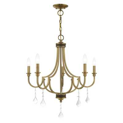 Livex Lighting Glendale 5-Light Antique Brass Chandelier with Clear Crystals - Home Depot