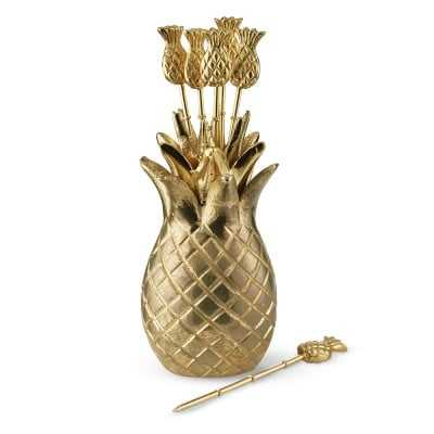 Pineapple Cocktail Picks with Holder, Set of 6 - Williams Sonoma