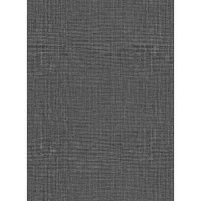Warner 60.8 sq. ft. Claremont Charcoal Faux Grasscloth Wallpaper, Grey - Home Depot