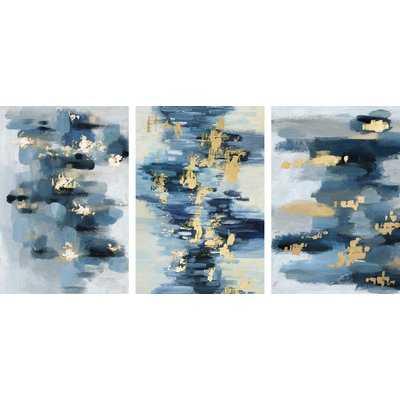 'Gold Water Reflection' Triptych - Wayfair