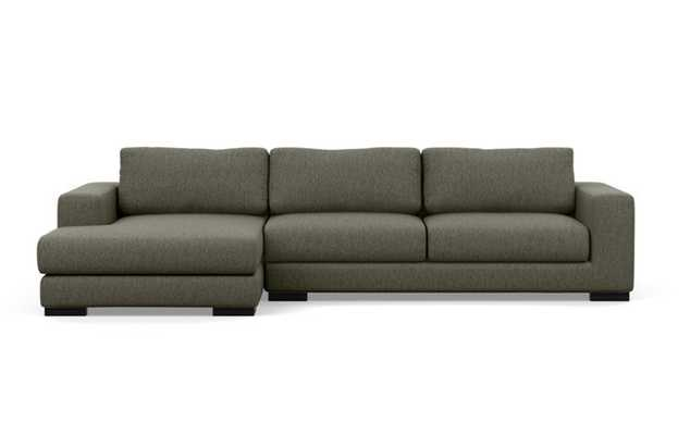 Henry Left Sectional with Grey Mushroom Fabric, extended chaise, and Matte Black legs - Interior Define