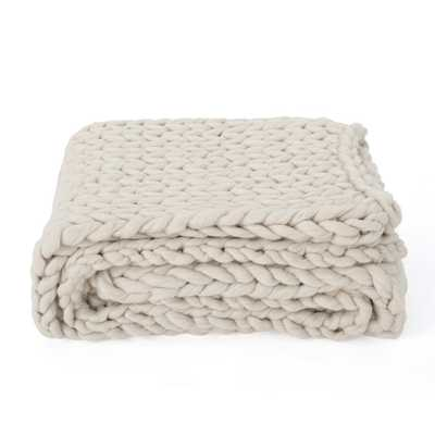 Marnie Ivory Acrylic Throw Blanket - Home Depot
