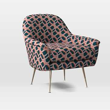 Phoebe Midcentury Chair, Poly, Modern Caning, Pink Stone, Brass - West Elm