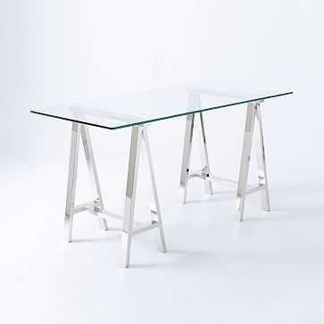 Cross Base Desk, Glass Top/Nickel Base - West Elm