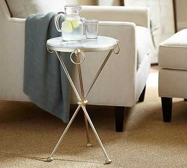 Leila Marble-Top Side Table, Antique Brass finish - Pottery Barn