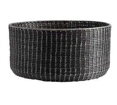 Garrett Black Woven Round Basket, Large Round - Pottery Barn