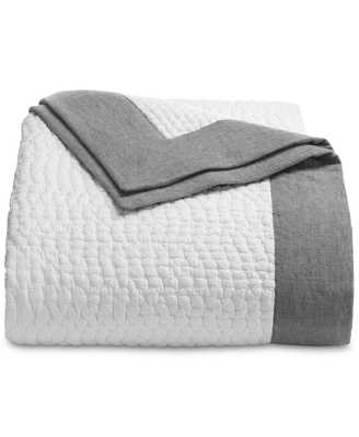 Hotel Collection Linen Voile FULL/QUEEN Quilted Coverlet White/Gray $335 i3446 - eBay