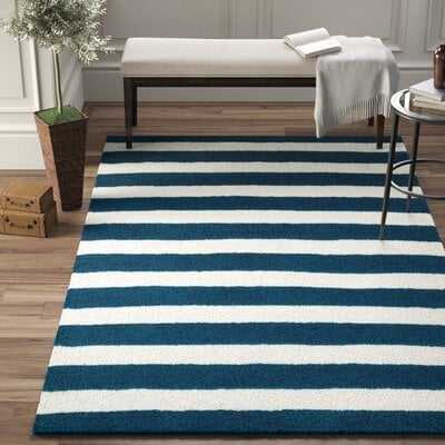 Hayley Handwoven Navy/White Stripe Area Rug - Wayfair