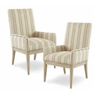 Lamberton Solid Wood Arm Chair in Beige (Set of 2) - Wayfair