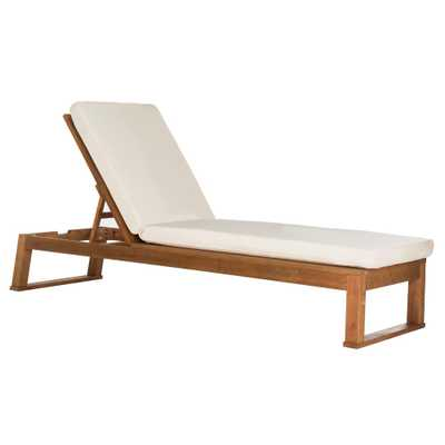 Safavieh Solano Natural Brown Adjustable Wood Outdoor Lounge Chair with Beige Cushion - Home Depot