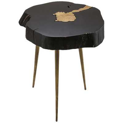 Timber Black and Brass Wooden Side Table - Style # 64T38 - Lamps Plus