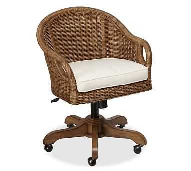 Wingate Rattan Swivel Desk Chair, Pecan stain & Cushion - Pottery Barn