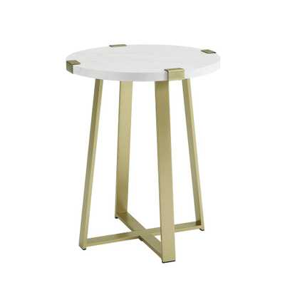 Glam Round Side Table White Faux Marble/Gold - Saracina Home - Target